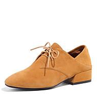 baratos Sapatos Femininos-Mulheres Sapatos Pele Nobuck Verão Conforto Oxfords Salto Robusto Preto / Amarelo