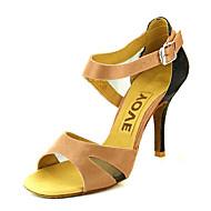 cheap Dance Shoes-Women's Latin Shoes / Salsa Shoes Satin / Silk Sandal / Heel Buckle / Ribbon Tie Customized Heel Customizable Dance Shoes Bronze / Almond