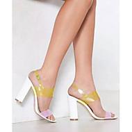 お買い得  特別セール-女性用 靴 ポリ塩化ビニール 春夏 スリングバック サンダル チャンキーヒール ホワイト / パーティー / パーティー