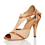 女性用 ラテン用シューズ レザーレット サンダル アウトドア プロフェッショナル スティレットヒール ゴールド オーダーメイド可
