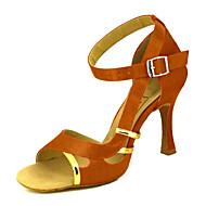 baratos Sapatilhas de Dança-Mulheres Sapatos de Dança Latina / Sapatos de Salsa Cetim Sandália / Salto Presilha / Cadarço de Borracha Salto Personalizado Personalizável Sapatos de Dança Amarelo / Fúcsia / Púrpura / Espetáculo