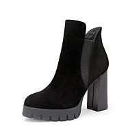 baratos Sapatos Femininos-Mulheres Sapatos Pele Napa / Pele Inverno Coturnos Botas Salto Robusto Botas Curtas / Ankle Preto