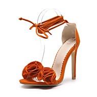 baratos Sapatos Femininos-Mulheres Sapatos Pele Nobuck Verão Plataforma Básica Sandálias Salto Agulha Dedo Aberto Rendado Laranja / Amarelo / Rosa claro