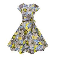 Kadın's Dışarı Çıkma Pamuklu İnce Çan Elbise - Çiçekli, Desen Diz-boyu
