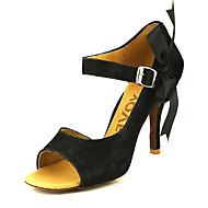 baratos Sapatilhas de Dança-Mulheres Sapatos de Dança Latina / Dança de Salão / Sapatos de Salsa Veludo Sandália Presilha Salto Personalizado Personalizável Sapatos de Dança Preto / Amarelo / Couro / Couro