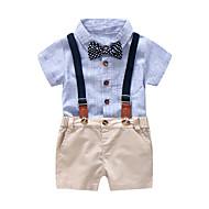 Baby Drenge Blå & Hvid Ensfarvet / Stribet / Farveblok Kortærmet Tøjsæt