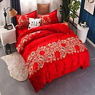 billige Blomstrete dynetrekk-Sengesett Blomstret / Geometrisk Polyester / Bomull Reaktivt Trykk 4 deler