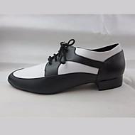billige Men's Dance Shoes-Herre Sko til latindans PU Oxford Lav hæl Dansesko Svart-Hvit / Ytelse / Trening
