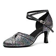 billige Moderne sko-Dame Moderne sko Lakklær Høye hæler Paljett Tykk hæl Dansesko Svart og Sølv