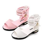 tanie Obuwie dziewczęce-Dla dziewczynek Obuwie PU Lato Wygoda / Buty dla małych druhen Sandały Spacery Kokarda / Frędzel / Tasiemka na Dzieci Biały / Różowy