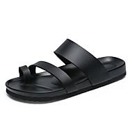 Муж. Кожа Лето Удобная обувь / Обувь через палец Сандалии Белый / Черный