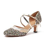 billige Moderne sko-Dame Moderne sko Fuskelær Høye hæler Tykk hæl Dansesko Gull