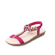 baratos Sapatos Femininos-Mulheres Sapatos Microfibra Verão Tira em T Sandálias Sem Salto Peep Toe Gliter com Brilho Bege / Vermelho / Azul