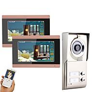 billige Dørtelefonssystem med video-MOUNTAINONE 3 Apartments Wifi Video Door Phone Trådløs / Kabel Fotografert / Opptak / Multifamilie Video Ringeklokke 7 tommers Håndfri