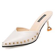 cheap Women's Clogs & Mules-Women's PU(Polyurethane) Summer Slingback Clogs & Mules Kitten Heel Pointed Toe Beige / Yellow / Brown