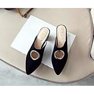 baratos Sapatos Femininos-Mulheres Sapatos Pele de Carneiro Verão Conforto Tamancos e Mules Calcanhar Heterotípico Preto / Vermelho / Nú