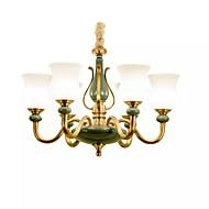 billige Takbelysning og vifter-QIHengZhaoMing 6-Light Candle-stil Lysekroner Omgivelseslys Messing Metall Glass 110-120V / 220-240V Varm Hvit Pære Inkludert