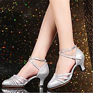 billige Moderne sko-Dame Moderne sko Polyester Høye hæler Kubansk hæl Kan spesialtilpasses Dansesko Sølv / Rød / Kakifarget
