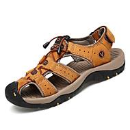 levne Shoes Trends-Pánské Kůže Léto Pohodlné Sandály Světle hnědá / Tmavěhnědá
