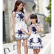 Para Meninas Azul e Branco Poá Sem Manga Vestido