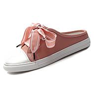 preiswerte -Damen Schuhe Leinwand / PU Sommer Fersenriemen Cloggs & Pantoletten Flacher Absatz Runde Zehe Schleife Weiß / Schwarz / Rosa