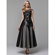 Linia -A Iluzii Lungime Gleznă Dantelă / Tulle Rochie Neagră Mică / See Through / gaură cheii Bal / Seară Formală Rochie cu Aplică de TS Couture®