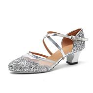 billiga Dansskor-Dam Moderna skor Lack Sneaker Paljett Kubansk klack Dansskor Guld / Svart / Silver