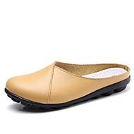 Χαμηλού Κόστους Γυναικεία Τσόκαρα & Μιουλ-Γυναικεία Παπούτσια Δερμάτινο Καλοκαίρι Ανατομικό Σαμπό & Mules Επίπεδο Τακούνι Καφέ / Κόκκινο / Μπλε Απαλό