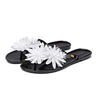 Mujer Zapatos PVC Primavera verano De Goma Zapatillas y flip-flops Tacón Plano Puntera abierta Flor de Satén Negro / Caqui lLhu5dE