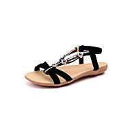 baratos Sapatos Femininos-Mulheres Sapatos Camurça / Pele de Carneiro Verão Conforto Sandálias Sem Salto Dedo Aberto Miçangas Preto / Bege / Vermelho