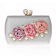 billige Designer Evening Bags-Dame Poser polyester / Legering Aftenveske Perledetaljer / Blomst Svart / Rød / Sølv