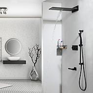 tanie Baterie prysznicowe-Bateria Prysznicowa - Współczesny Chrom Przytwierdzony do ściany Zawór ceramiczny / Mosiądz / Trzy uchwyty cztery otwory
