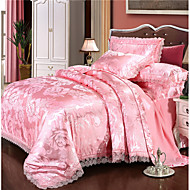 cheap Home Textiles New Arrivals-Duvet Cover Sets Luxury Polyster Jacquard 4 Piece Bedding Sets / 300 / 4pcs (1 Duvet Cover, 1 Flat Sheet, 2 Shams) king