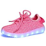 tanie Obuwie dziewczęce-Dla dziewczynek Obuwie Tiul Wiosna i lato Wygoda / Świecące buty Adidasy Spacery Sznurowane / LED na Dzieci Czarny / Szary / Różowy