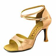 baratos Sapatilhas de Dança-Personalizadas femininas cetim superior latino sapatos de dança de sandálias com Buckie