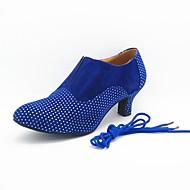 billige Jazz-sko-Dame Jazz-sko Semsket lær Høye hæler MiniSpot Kubansk hæl Kan spesialtilpasses Dansesko Rosa / Svart / Rød / Kakifarget