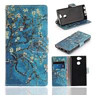 billiga Mobil cases & Skärmskydd-fodral Till Sony Xperia XA2 Plånbok / Korthållare / med stativ Fodral Blomma Hårt PU läder för Xperia XA2