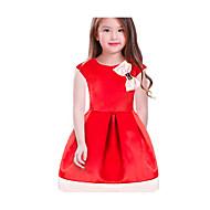 Kinder Mädchen Grundlegend Alltag / Schultaschen Solide / Einfarbig Schleife Ärmellos Knielang Baumwolle / Polyester Kleid Rote