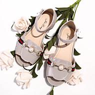 baratos Sapatos de Menina-Para Meninas Sapatos Couro Ecológico Primavera Verão Conforto Sandálias Caminhada Velcro para Adolescente Preto / Bege / Vinho / Peep Toe