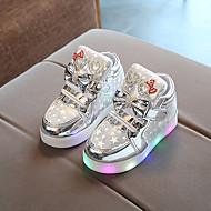 baratos Sapatos de Menina-Para Meninas Sapatos Couro Ecológico Outono & inverno Conforto Tênis Caminhada Gliter com Brilho / LED para Infantil Dourado / Prata / Rosa claro