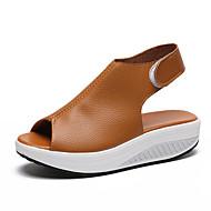 baratos Sapatos Femininos-Mulheres Sapatos Couro Ecológico Verão Conforto / Inovador Sandálias Caminhada Plataforma Peep Toe Bege / Vermelho / Castanho Escuro