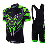 cheap -21Grams Men's Short Sleeve Cycling Jersey with Bib Shorts - Green / Black Bike Clothing Suit, Breathable, Quick Dry, Sweat-wicking Coolmax®, Lycra Classic / High Elasticity