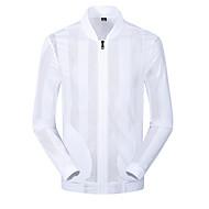 Men's Beach Street chic Spring & Summer Regular Jacket, Solid Colored Stand Long Sleeve Polyester White / Black XXXL / 4XL / XXXXXL