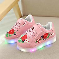 baratos Sapatos de Menina-Para Meninas Sapatos Couro Ecológico Primavera & Outono / Primavera Tênis com LED Tênis Caminhada LED para Infantil Branco / Preto / Rosa