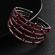 billiga Bröllops- och festsmycken-Dam Kristall Armringar Manschett Armband - Europeisk, Mode Armband Röd Till Bröllop Dagligen