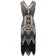 Great Gatsby 1920s Gatsby คำรามยุค 20 เครื่องแต่งกาย สำหรับผู้หญิง หนึ่งชิ้น ชุดเดรส Flapper Headband สีทอง+สีดำ / สีน้ำเงิน+สีดำ / สีชมพู Vintage คอสเพลย์ ปาร์ตี้ Prom เสื้อไม่มีแขน เสมอเข่า