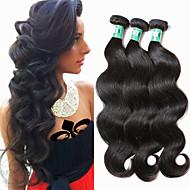 hesapli -Düz Brezilya Saçı Vücut Dalgası Virgin Saç İnsan saç örgüleri 3 Paket İnsan saç örgüleri Yumuşak / Siyah Siyah İnsan Saç Uzantıları