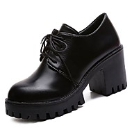 baratos Sapatos Femininos-Mulheres Sapatos Couro Ecológico Verão Chanel Oxfords Salto Robusto Preto / Casamento / Festas & Noite