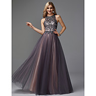 A-Line Jewel Neck Floor Length Tulle Keyhole Prom / Formal Evening Dress with Beading by TS Couture®