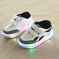 baratos Sapatos de Menino-Para Meninos Sapatos Couro Ecológico Primavera Verão Conforto Tênis Caminhada Velcro / LED para Bébé Branco / Preto